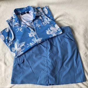 Izod tropical blue ladies golf outfit